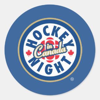 Noche del hockey en el logotipo de Canadá Pegatina Redonda