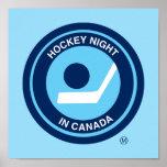 Noche del hockey en el logotipo retro de Canadá Póster