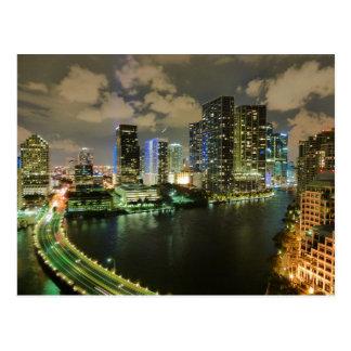 Noche del horizonte de Miami Tarjetas Postales