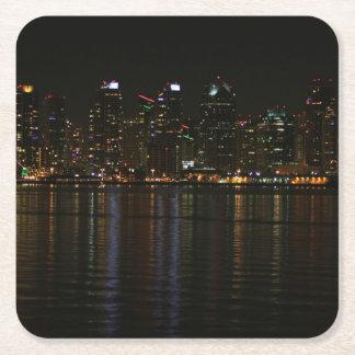 Noche del horizonte de San Diego Posavasos De Cartón Cuadrado