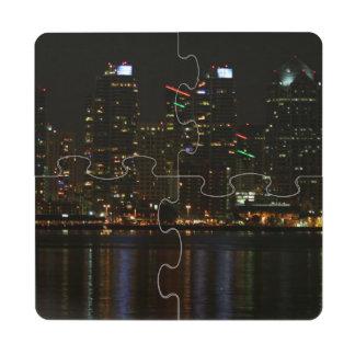 Noche del horizonte de San Diego Posavasos De Puzzle