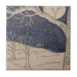 Noche del invierno azulejos