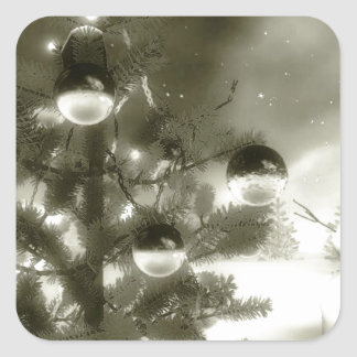 noche del invierno de la escena del navidad pegatina cuadrada