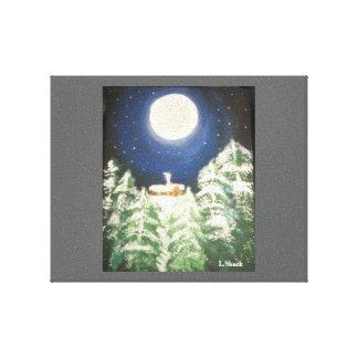 Noche del invierno impresión en lienzo