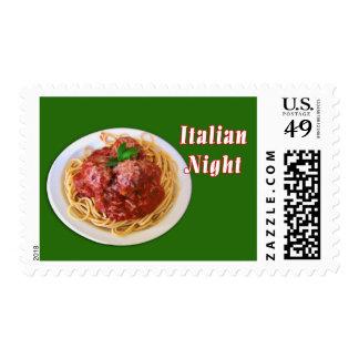 Noche del italiano de los espaguetis y de las sellos