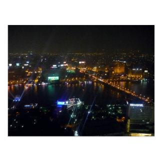 noche del Nilo del río de El Cairo Postal