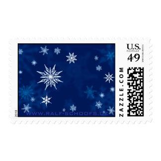 Noche del pleno invierno del bosquejo de los copos timbres postales