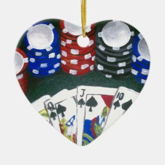 Noche del póker adorno navideño de cerámica en forma de corazón