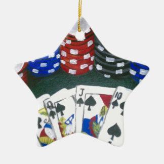 Noche del póker adorno navideño de cerámica en forma de estrella