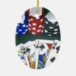 Noche del póker adorno navideño ovalado de cerámica