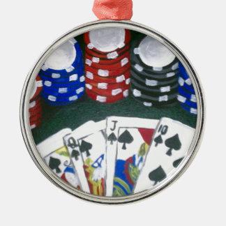 Noche del póker adorno navideño redondo de metal