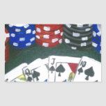 Noche del póker pegatina rectangular