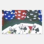 Noche del póker rectangular pegatinas