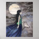 Noche del poster del arte de la fantasía del lobo