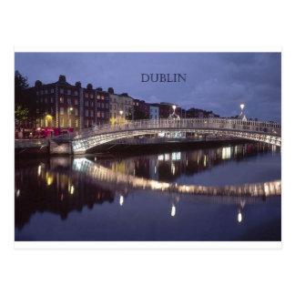 Noche del puente de Irlanda Dublín St K Tarjeta Postal