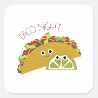 Noche del Taco Pegatina Cuadrada