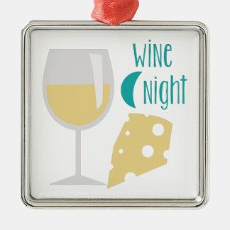 Noche del vino adorno navideño cuadrado de metal