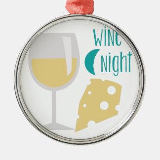Noche del vino adorno navideño redondo de metal