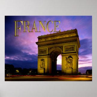 Noche en Arco del Triunfo Francia Posters
