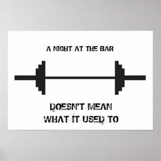 Noche en el poster de motivación de la barra