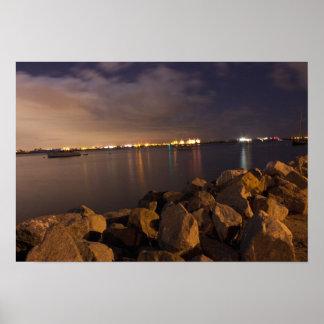 Noche en el puerto - isla San Diego del refugio Impresiones