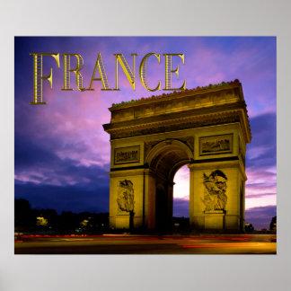 Noche en el TEXTO Francia de Arco del Triunfo Poster