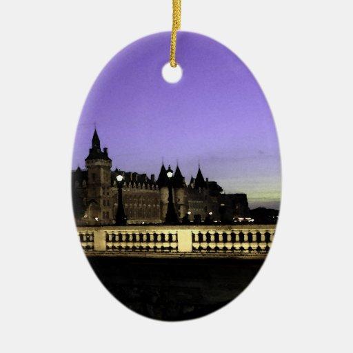 Noche en la acuarela de París Ornamento Para Arbol De Navidad