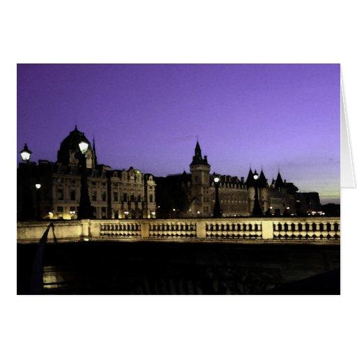 Noche en la acuarela de París Tarjetón