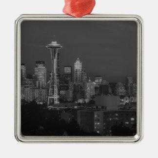 Noche en la Seattle Adorno Navideño Cuadrado De Metal