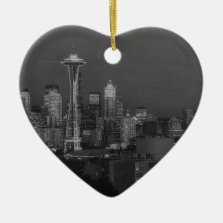 Noche en la Seattle Adorno Navideño De Cerámica En Forma De Corazón