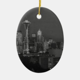 Noche en la Seattle Adorno Navideño Ovalado De Cerámica