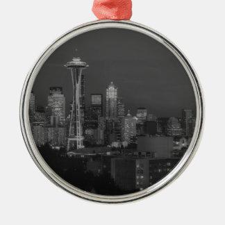 Noche en la Seattle Adorno Navideño Redondo De Metal