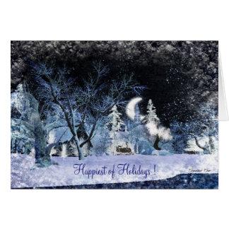 Noche escarchada - buenas fiestas tarjeta de felicitación