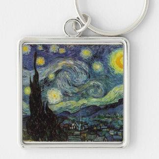 noche estrellada, 1889, Vincent van Gogh Llavero Cuadrado Plateado
