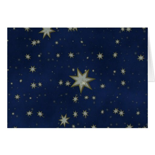 Noche estrellada: Blanco, estrellas del oro en Tarjeton