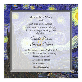 """Noche estrellada, boda famoso de la bella arte invitación 5.25"""" x 5.25"""""""