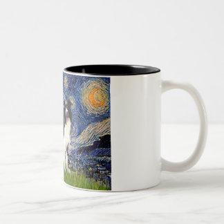 Noche estrellada - border collie (z) taza de dos tonos