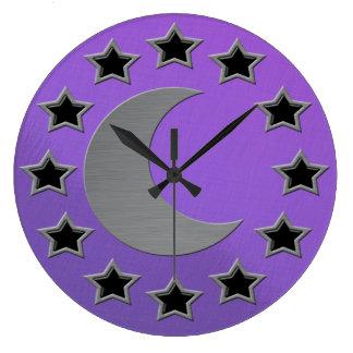 Noche estrellada cepillada satén violeta metálico  reloj redondo grande