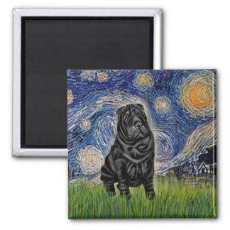 Noche estrellada - chino negro Shar Pei Imán Cuadrado