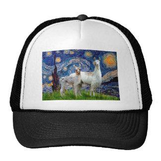 Noche estrellada con dos llamas gorra