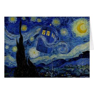 Noche estrellada con la caja de policía por tarjeta de felicitación