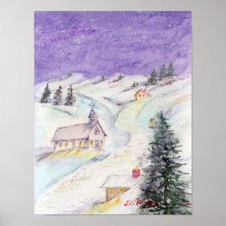 Noche estrellada cubierta en acuarela del navidad posters