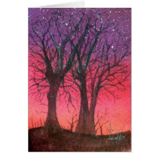 Noche estrellada de la caída tarjeta pequeña