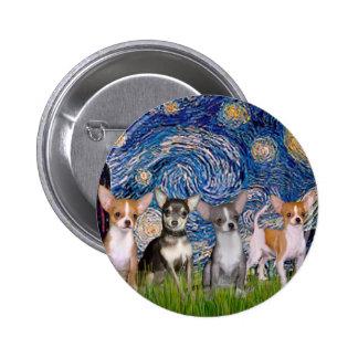 Noche estrellada de las chihuahuas (cuatro) - pins