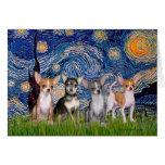 Noche estrellada de las chihuahuas (cuatro) - tarjeta