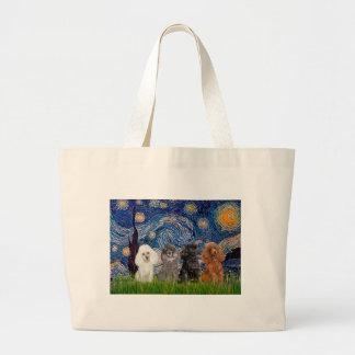 Noche estrellada de los caniches (cuatro) - bolsa tela grande