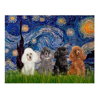 Noche estrellada de los caniches (cuatro) - postal