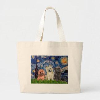 Noche estrellada de los terrieres de mojón (tres)  bolsa tela grande