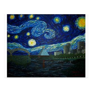 """""""Noche estrellada de Memphis"""" por Jack Lepper Tarjeta Postal"""