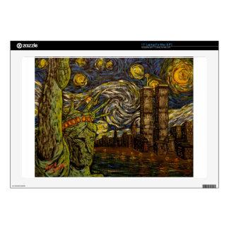Noche estrellada de NYC.: Torres gemelas (las Skins Para 43,2cm Portátil